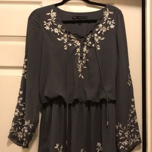 Gray floral bell sleeve dress